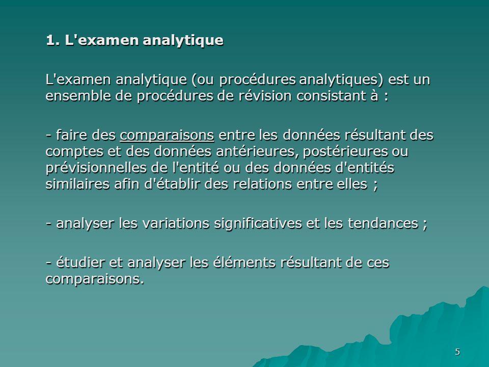 1. L examen analytique L examen analytique (ou procédures analytiques) est un ensemble de procédures de révision consistant à :