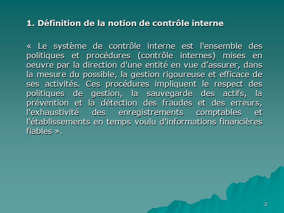 1. Définition de la notion de contrôle interne