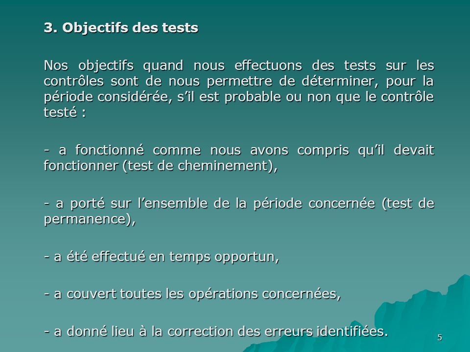 3. Objectifs des tests
