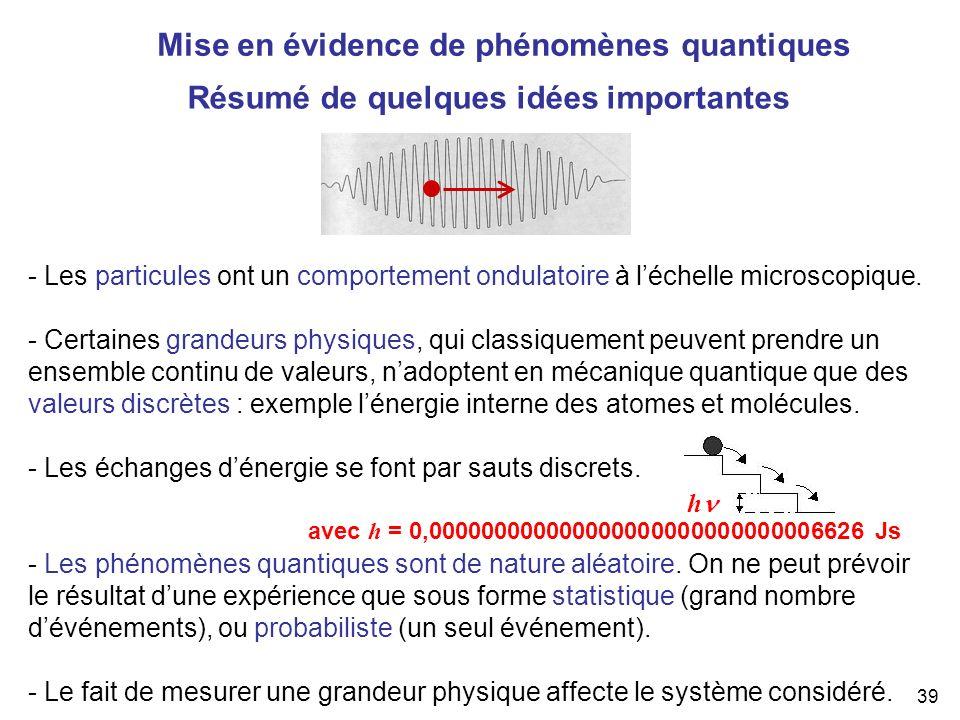 Mise en évidence de phénomènes quantiques