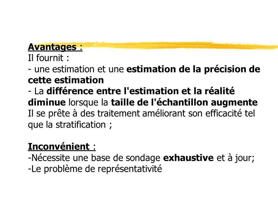 Avantages :Il fournit : - une estimation et une estimation de la précision de cette estimation.
