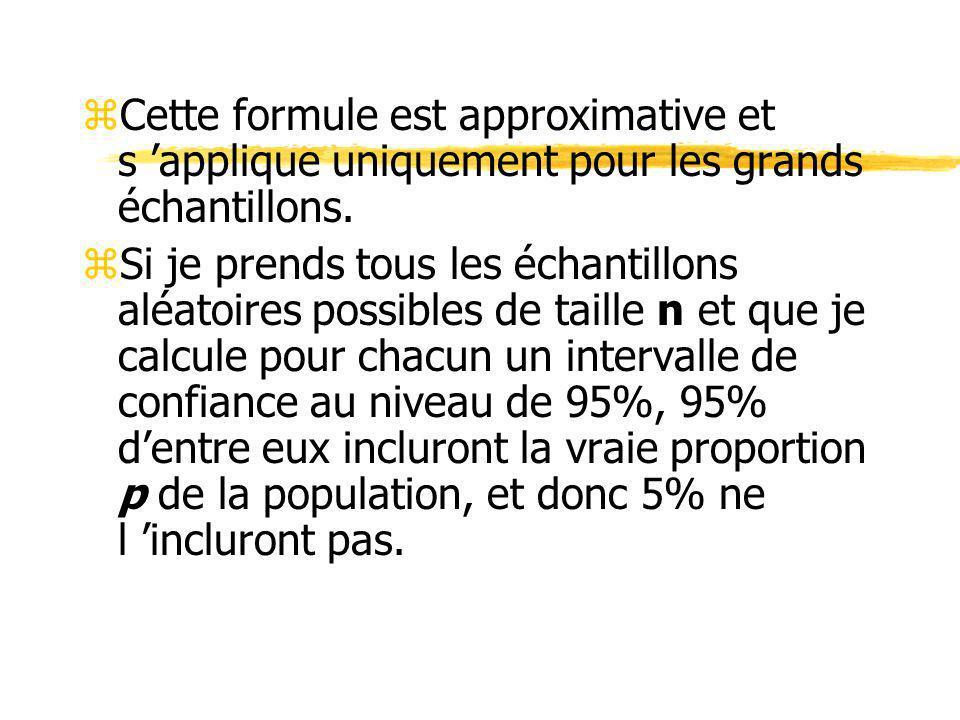 Cette formule est approximative et s 'applique uniquement pour les grands échantillons.