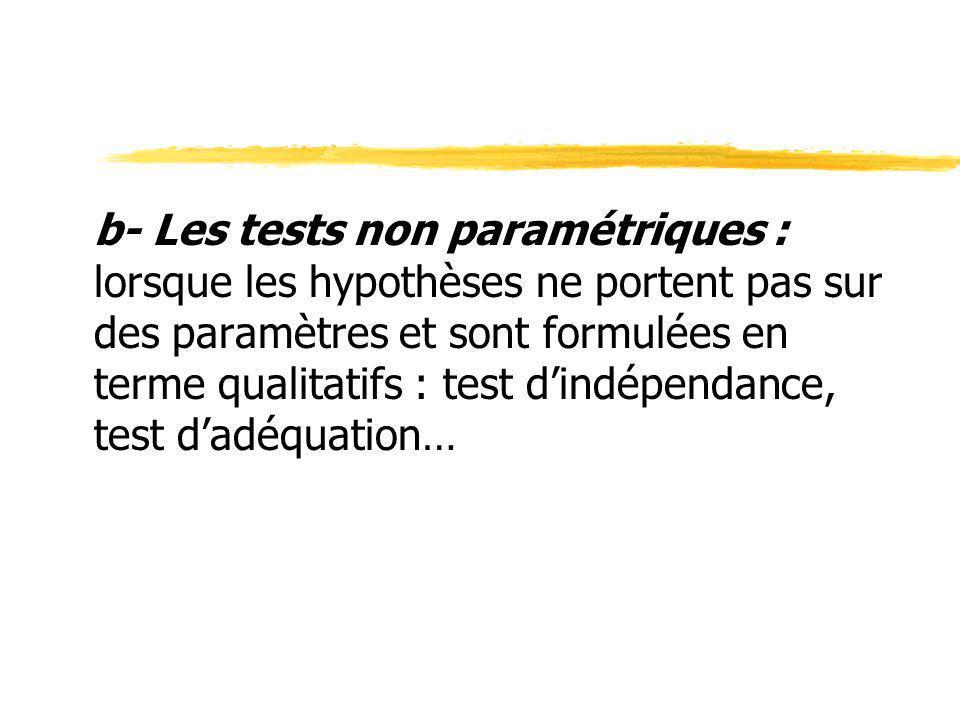 b- Les tests non paramétriques : lorsque les hypothèses ne portent pas sur des paramètres et sont formulées en terme qualitatifs : test d'indépendance, test d'adéquation…