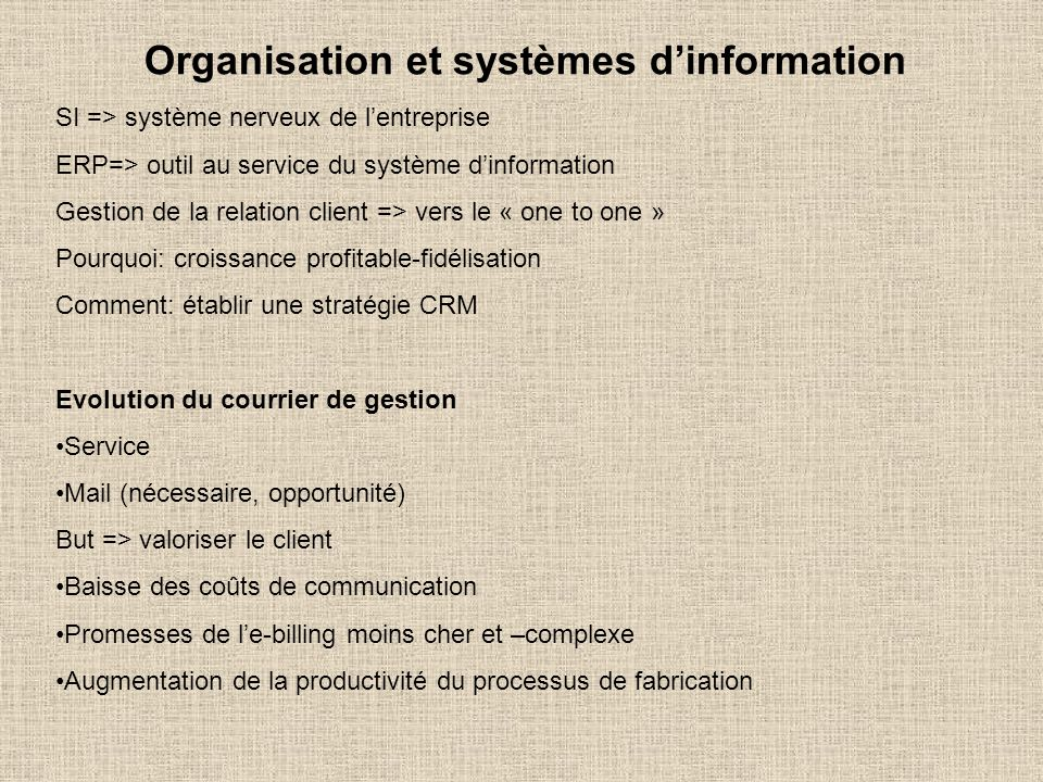 Organisation et systèmes d'information