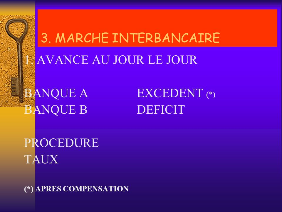 3. MARCHE INTERBANCAIRE 1. AVANCE AU JOUR LE JOUR