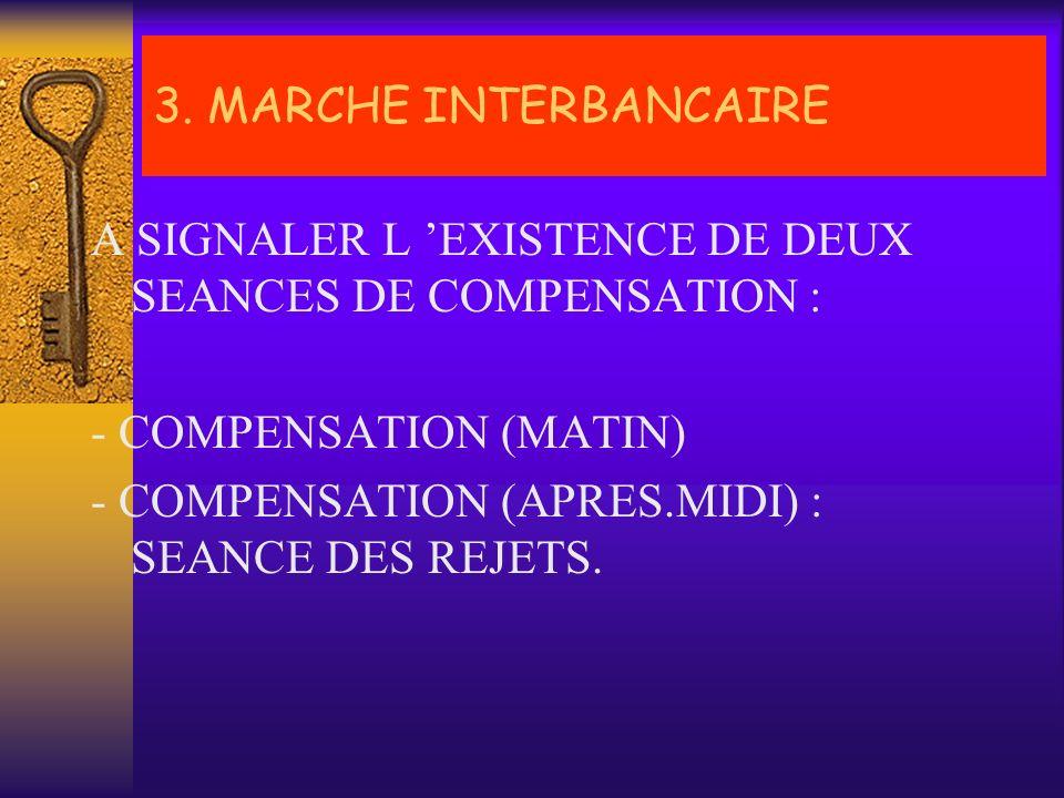 3. MARCHE INTERBANCAIRE A SIGNALER L 'EXISTENCE DE DEUX SEANCES DE COMPENSATION : - COMPENSATION ( MATIN)