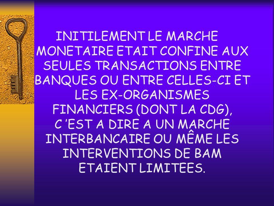 INITILEMENT LE MARCHE MONETAIRE ETAIT CONFINE AUX SEULES TRANSACTIONS ENTRE BANQUES OU ENTRE CELLES-CI ET LES EX-ORGANISMES FINANCIERS (DONT LA CDG), C 'EST A DIRE A UN MARCHE INTERBANCAIRE OU MÊME LES INTERVENTIONS DE BAM ETAIENT LIMITEES.
