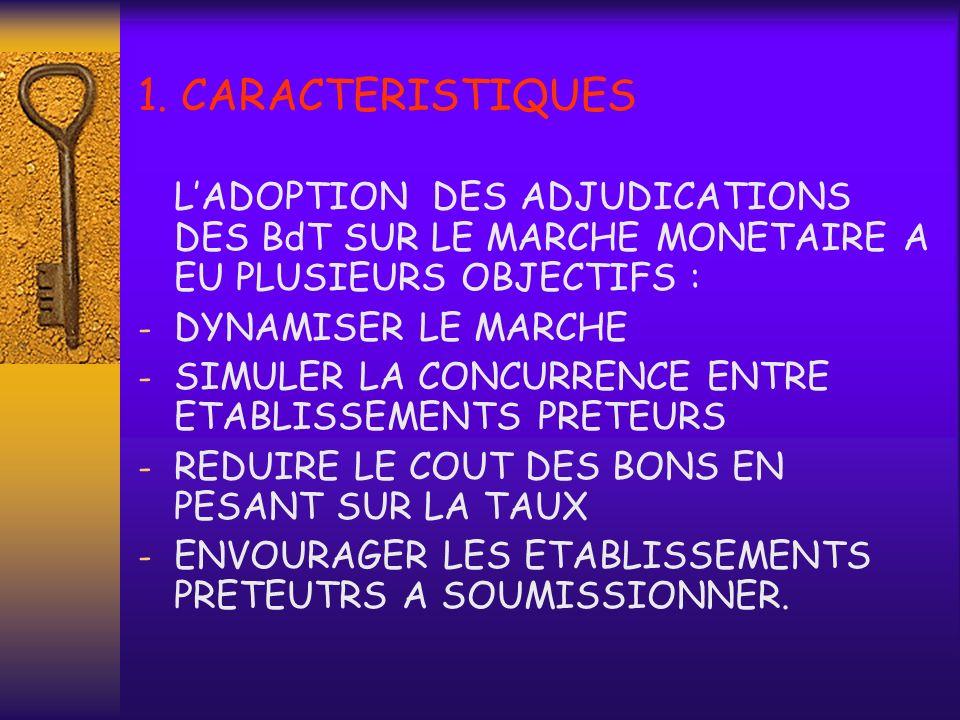 1. CARACTERISTIQUESL'ADOPTION DES ADJUDICATIONS DES BdT SUR LE MARCHE MONETAIRE A EU PLUSIEURS OBJECTIFS :