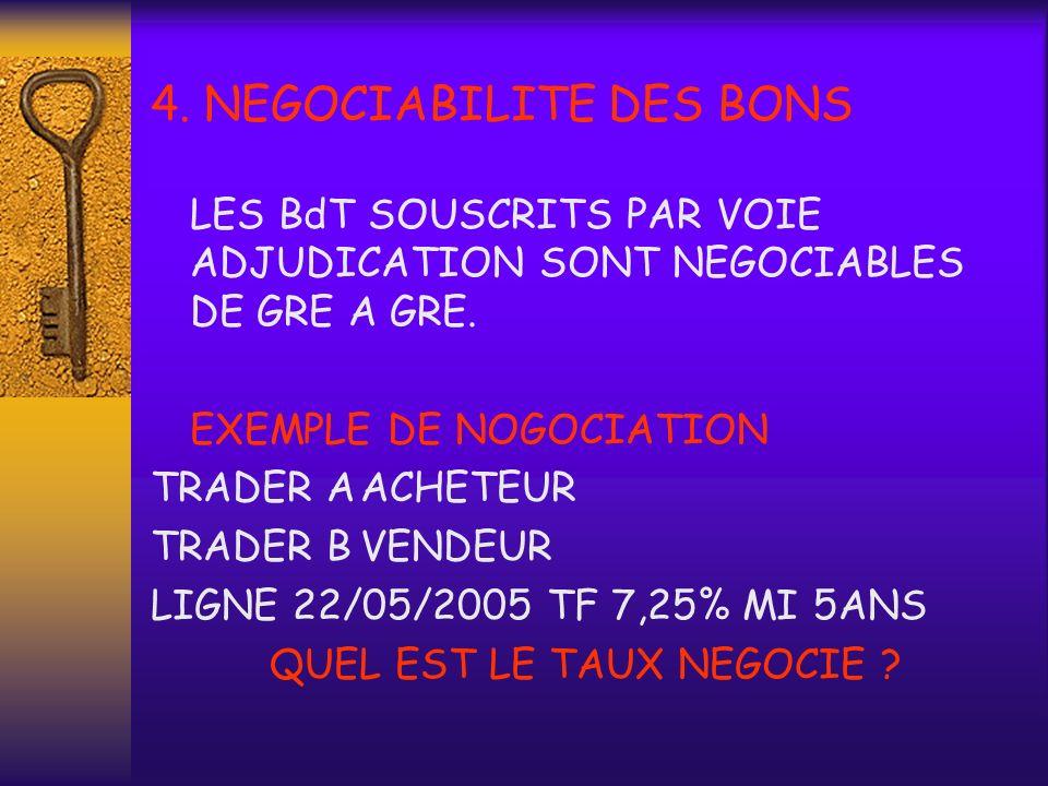 4. NEGOCIABILITE DES BONS