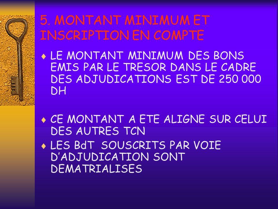 5. MONTANT MINIMUM ET INSCRIPTION EN COMPTE