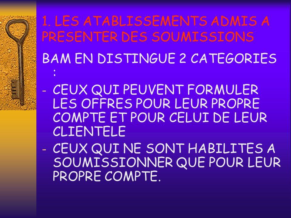 1. LES ATABLISSEMENTS ADMIS A PRESENTER DES SOUMISSIONS