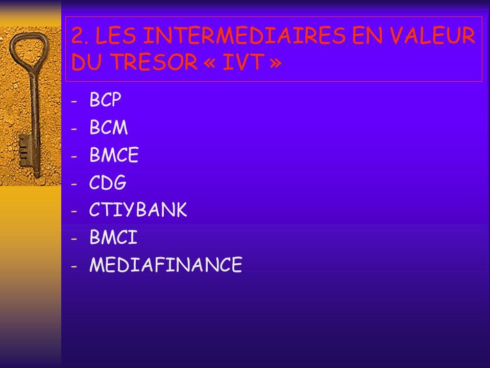2. LES INTERMEDIAIRES EN VALEUR DU TRESOR « IVT »