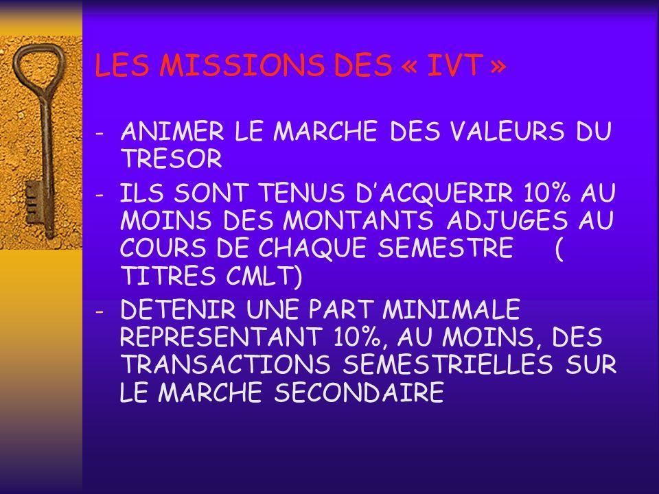 LES MISSIONS DES « IVT » ANIMER LE MARCHE DES VALEURS DU TRESOR