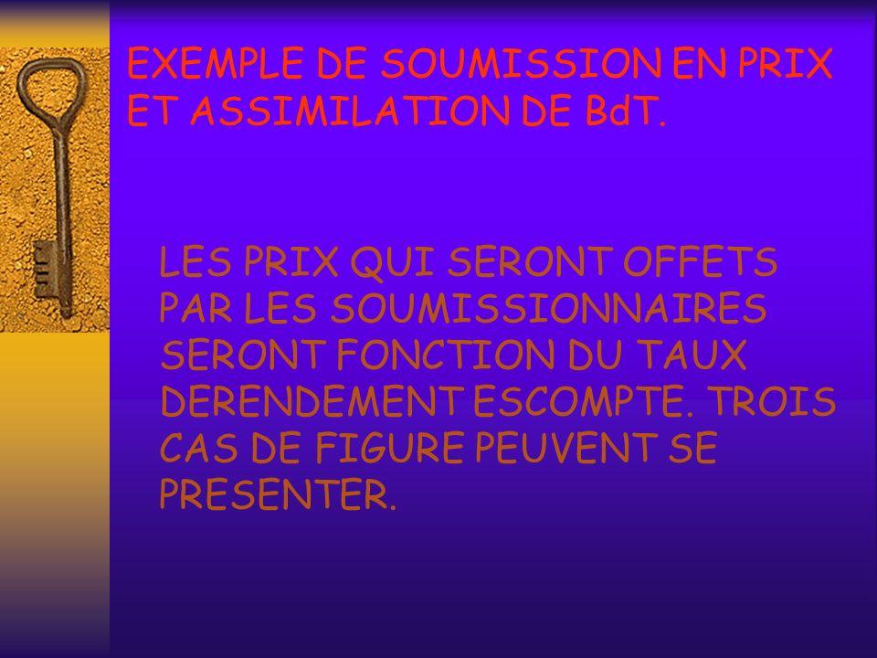 EXEMPLE DE SOUMISSION EN PRIX ET ASSIMILATION DE BdT.