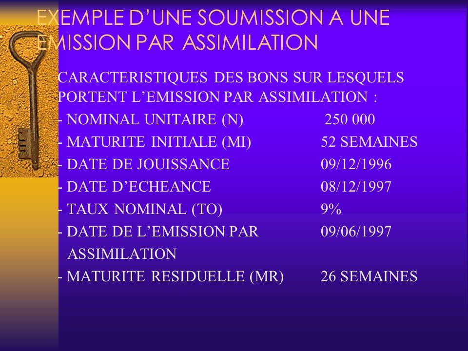 EXEMPLE D'UNE SOUMISSION A UNE EMISSION PAR ASSIMILATION