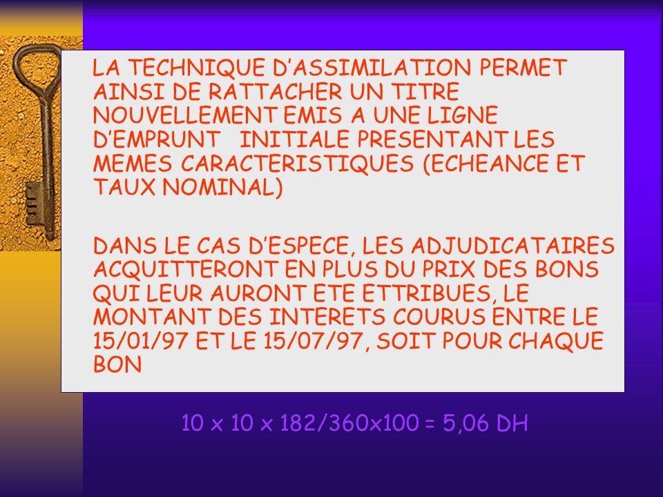 LA TECHNIQUE D'ASSIMILATION PERMET AINSI DE RATTACHER UN TITRE NOUVELLEMENT EMIS A UNE LIGNE D'EMPRUNT INITIALE PRESENTANT LES MEMES CARACTERISTIQUES (ECHEANCE ET TAUX NOMINAL)