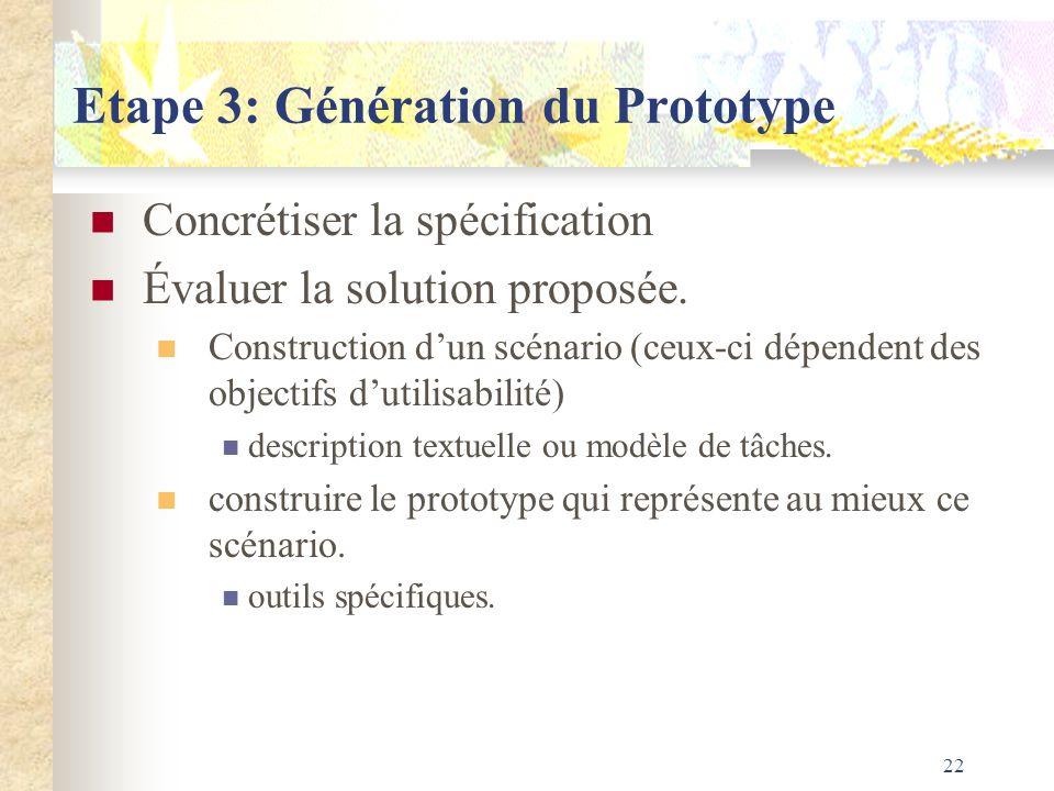 Etape 3: Génération du Prototype