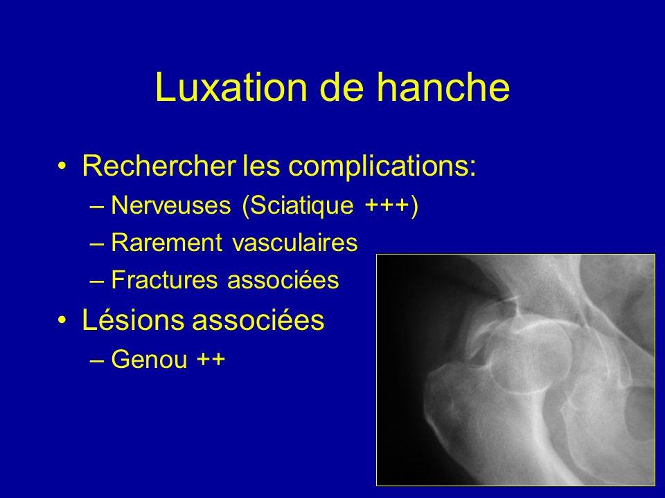 Luxation de hanche Rechercher les complications: Lésions associées