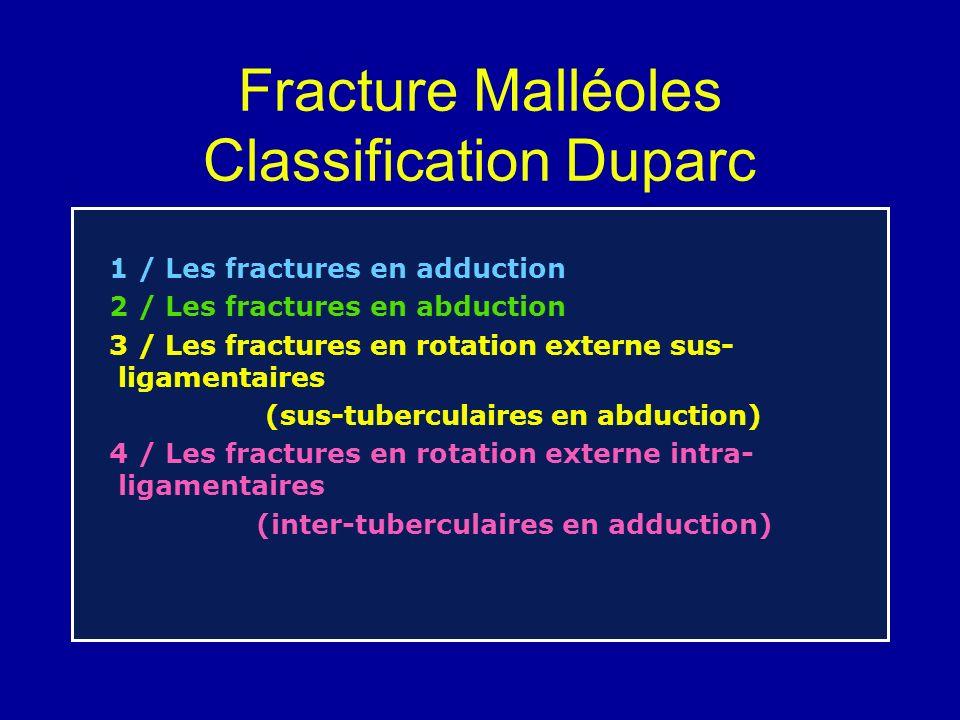 Fracture Malléoles Classification Duparc
