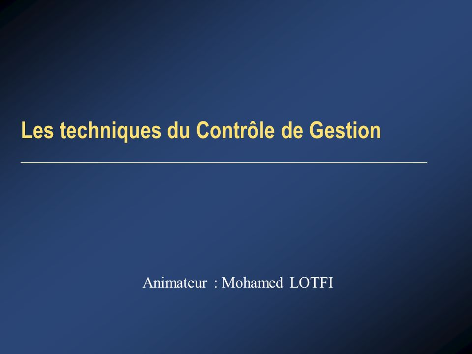 Animateur : Mohamed LOTFI