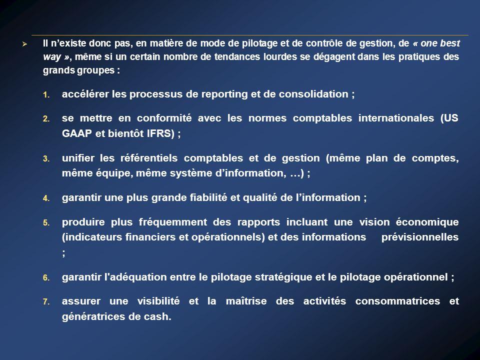 accélérer les processus de reporting et de consolidation ;