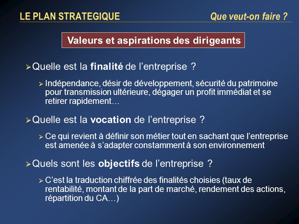 LE PLAN STRATEGIQUE Que veut-on faire