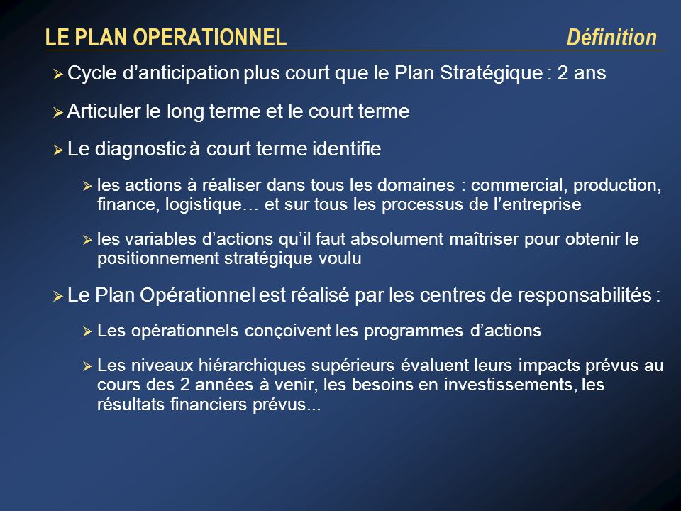 LE PLAN OPERATIONNEL Définition