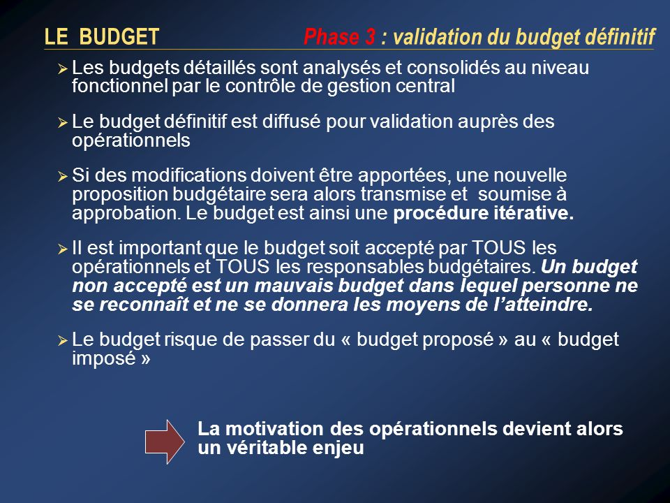 LE BUDGET Phase 3 : validation du budget définitif