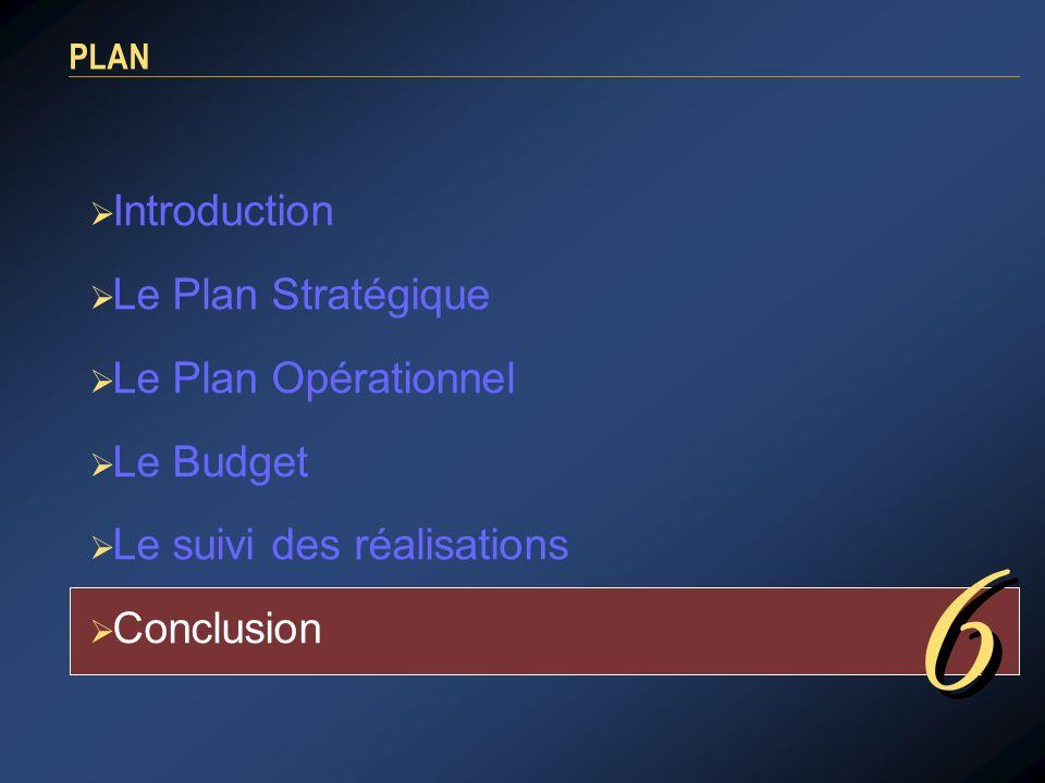 6 Introduction Le Plan Stratégique Le Plan Opérationnel Le Budget