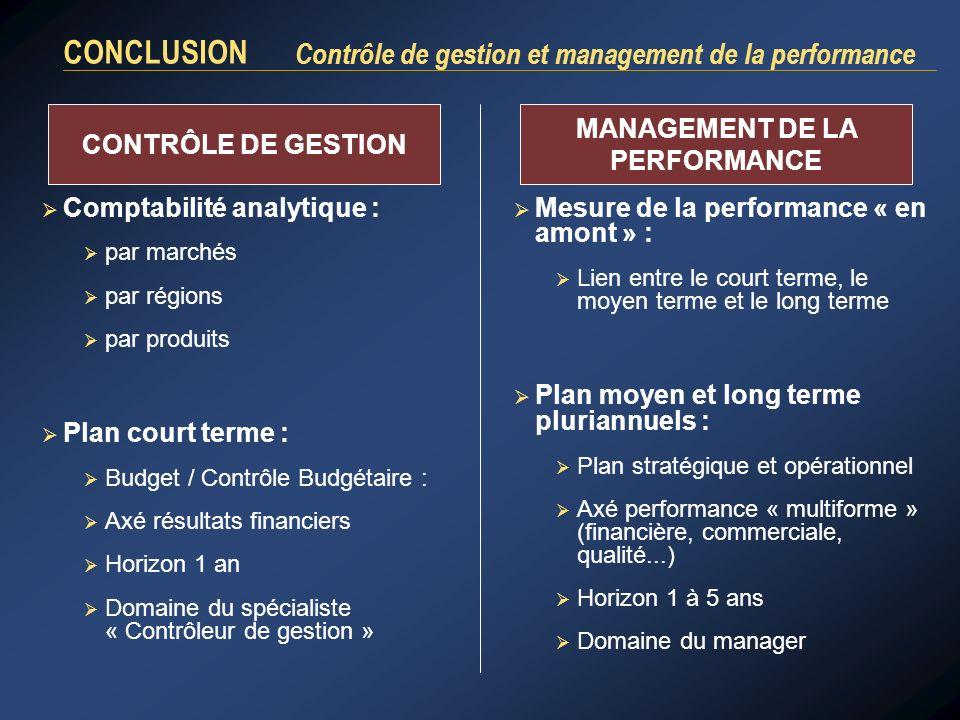 CONCLUSION Contrôle de gestion et management de la performance