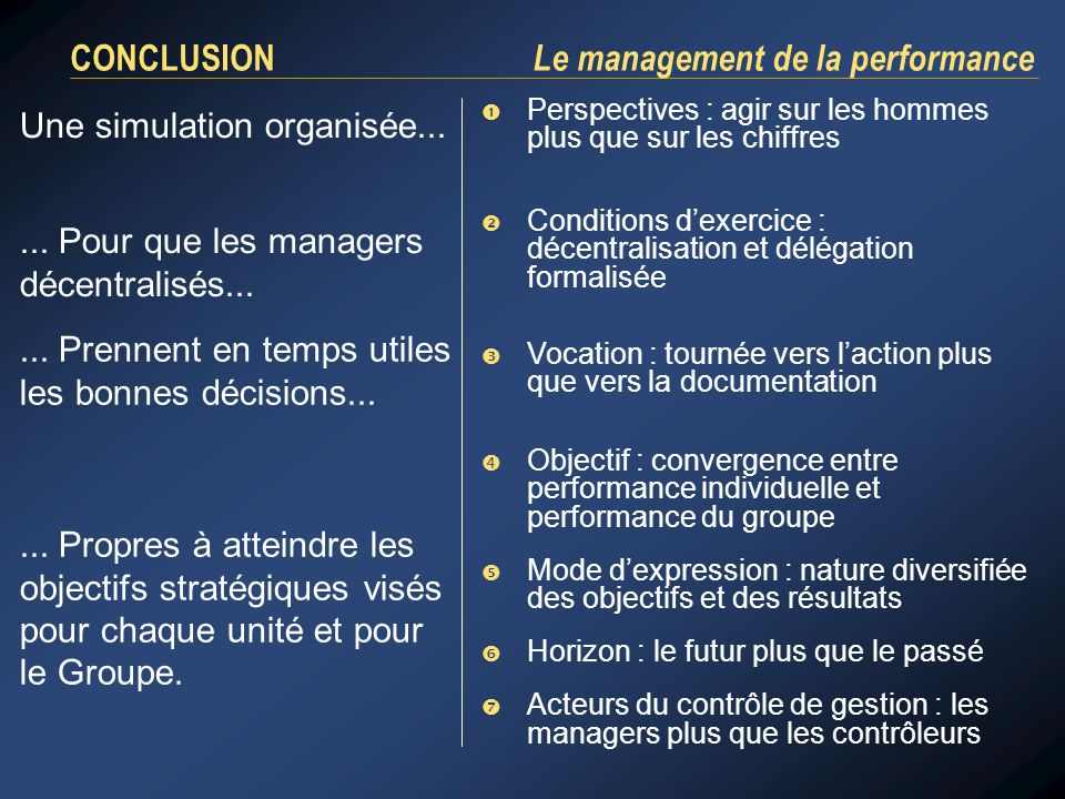 CONCLUSION Le management de la performance