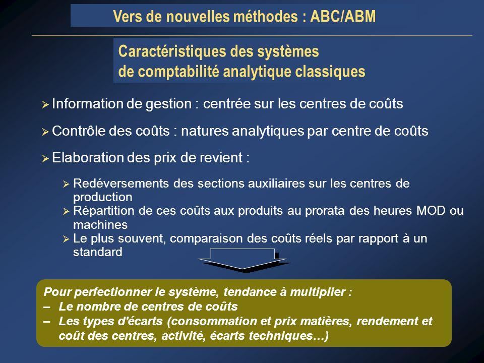 Caractéristiques des systèmes de comptabilité analytique classiques
