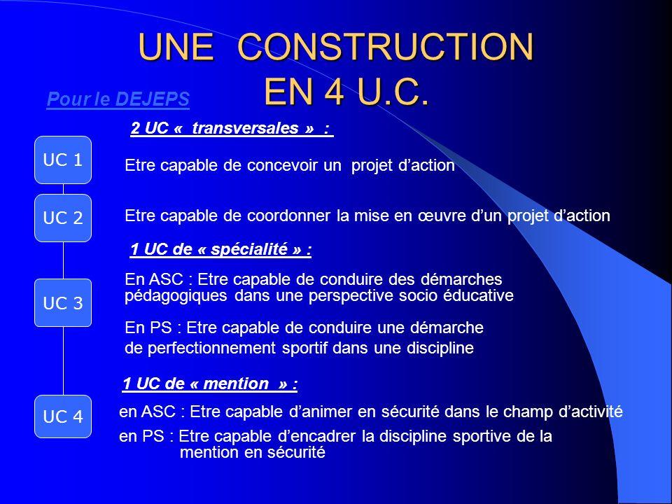 UNE CONSTRUCTION EN 4 U.C. Pour le DEJEPS 2 UC « transversales » :