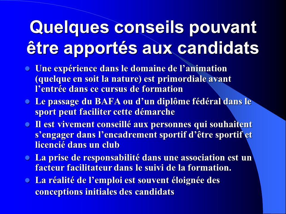 Quelques conseils pouvant être apportés aux candidats