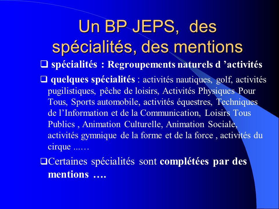 Un BP JEPS, des spécialités, des mentions