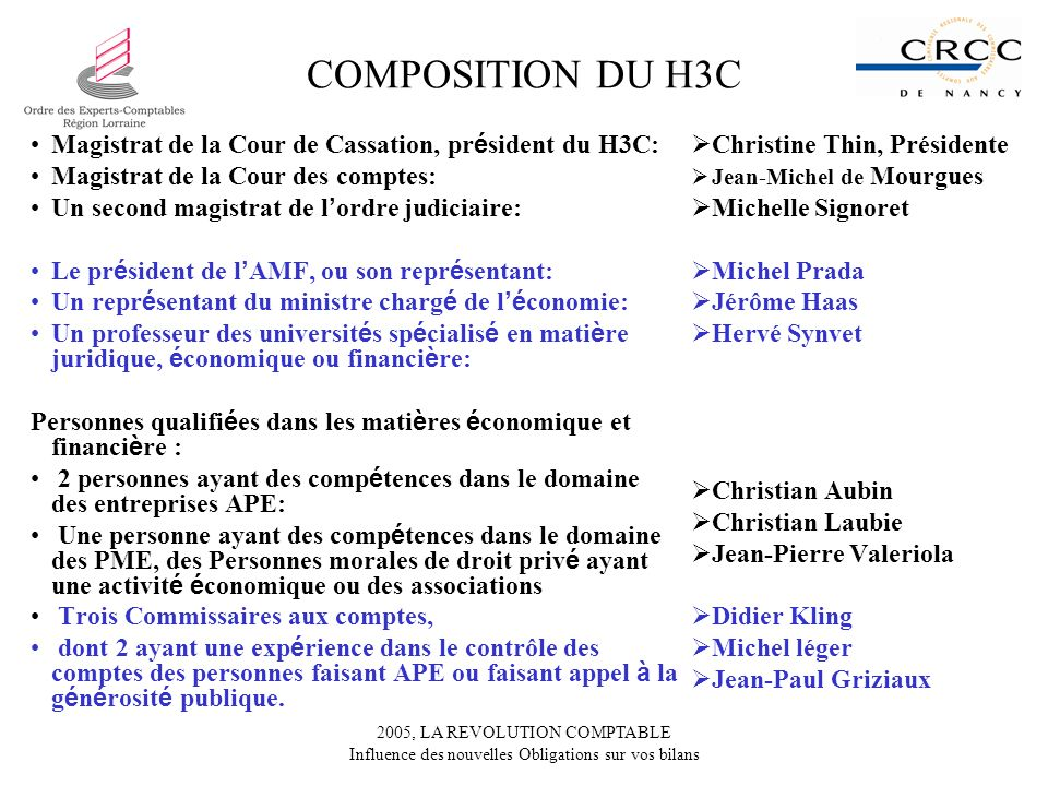 COMPOSITION DU H3C Magistrat de la Cour de Cassation, président du H3C: Magistrat de la Cour des comptes: