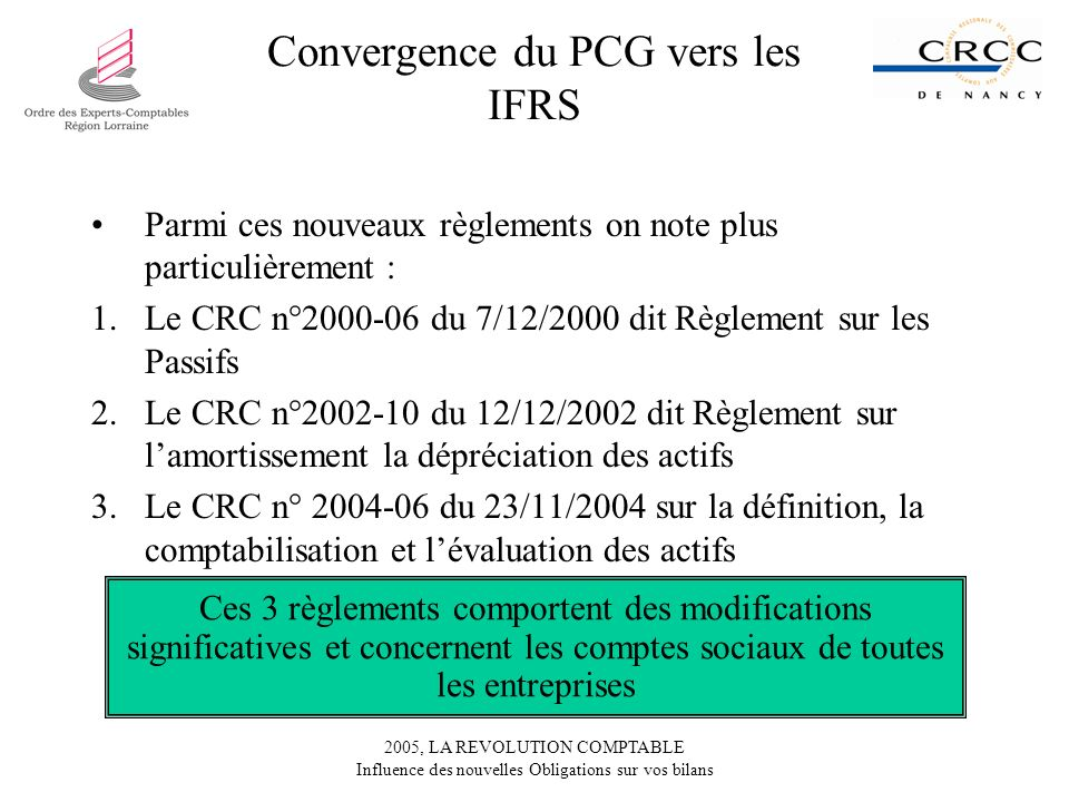 Convergence du PCG vers les IFRS