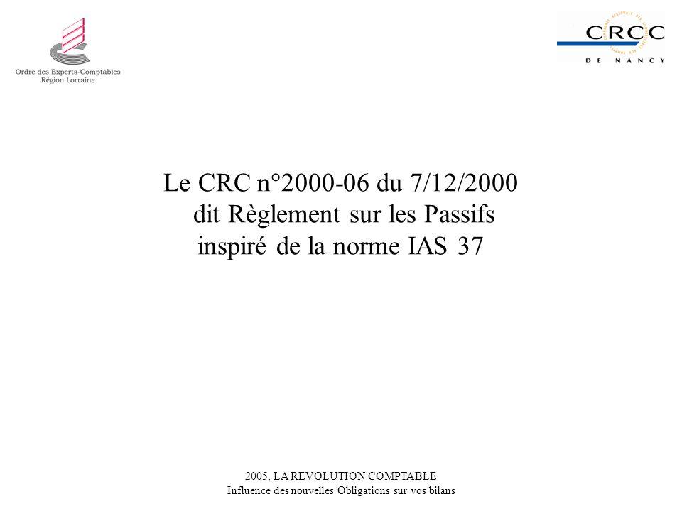 Le CRC n°2000-06 du 7/12/2000 dit Règlement sur les Passifs inspiré de la norme IAS 37