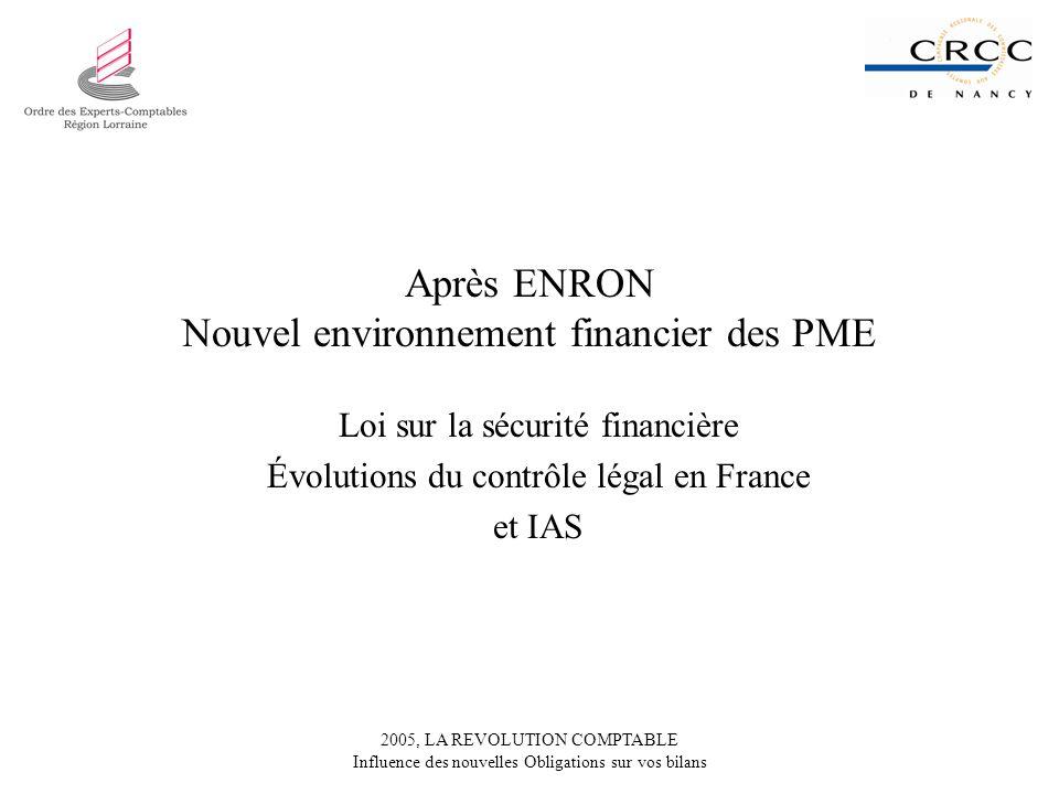 Après ENRON Nouvel environnement financier des PME