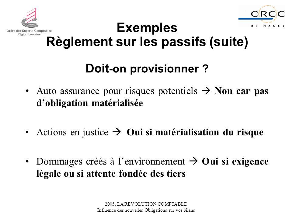 Règlement sur les passifs (suite) Doit-on provisionner