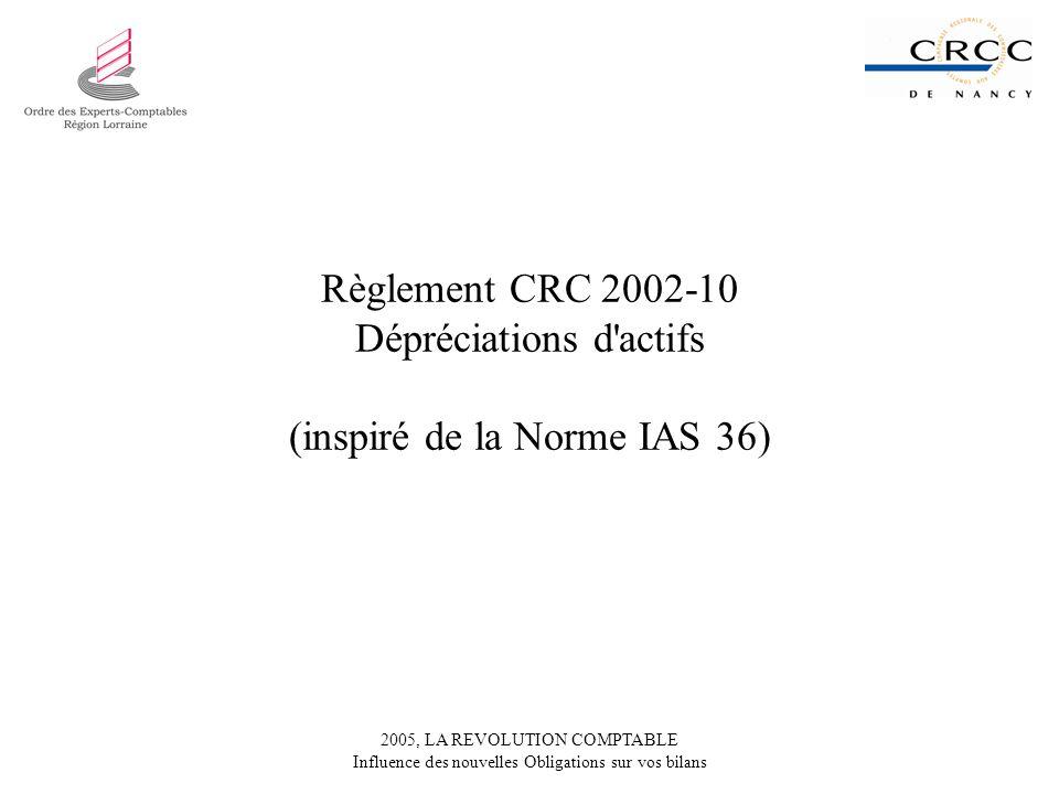 Règlement CRC 2002-10 Dépréciations d actifs (inspiré de la Norme IAS 36)
