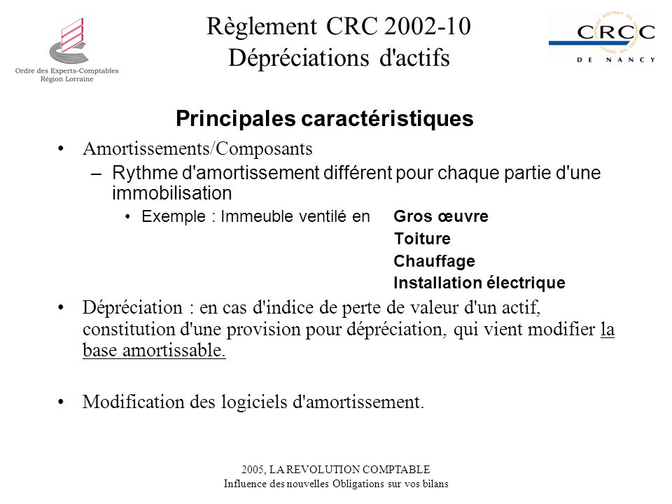 Règlement CRC 2002-10 Dépréciations d actifs