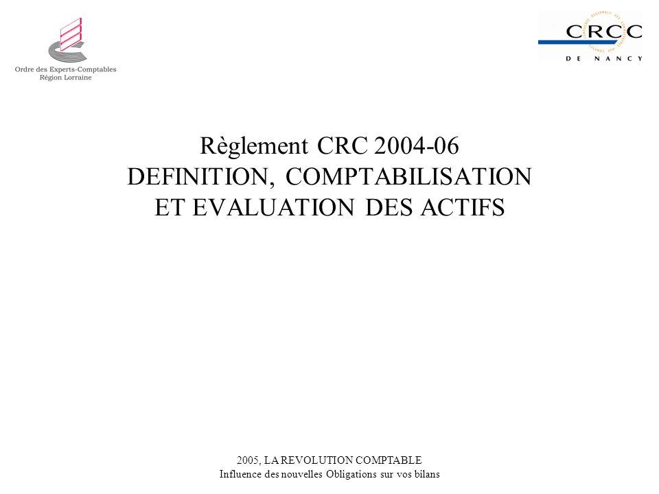Règlement CRC 2004-06 DEFINITION, COMPTABILISATION ET EVALUATION DES ACTIFS