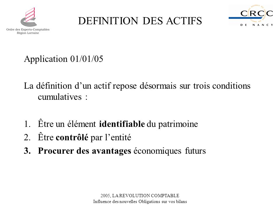 DEFINITION DES ACTIFS Application 01/01/05