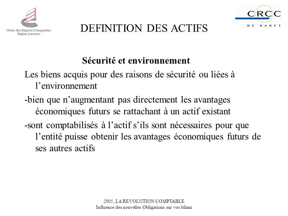 DEFINITION DES ACTIFS Sécurité et environnement