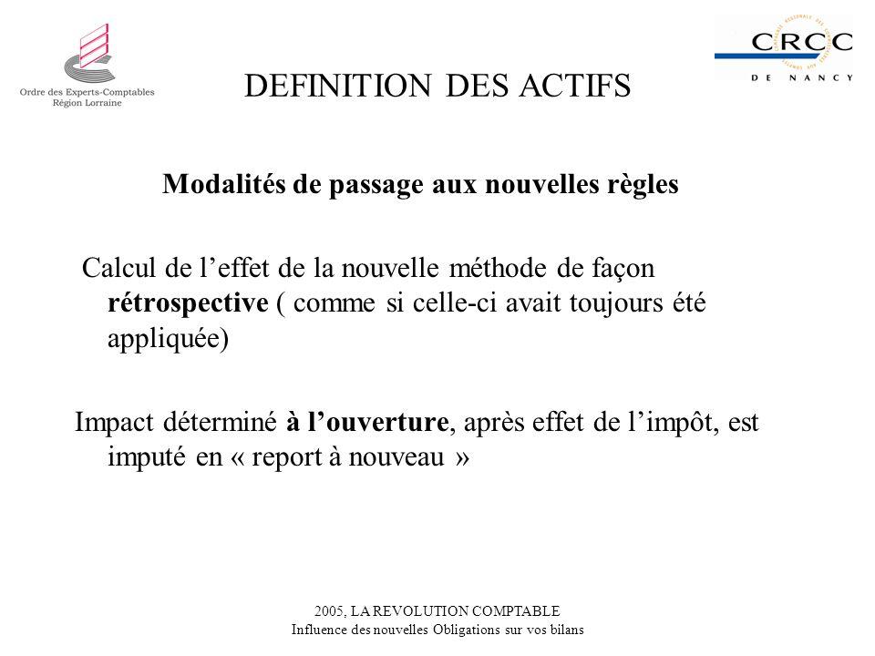 DEFINITION DES ACTIFS Modalités de passage aux nouvelles règles