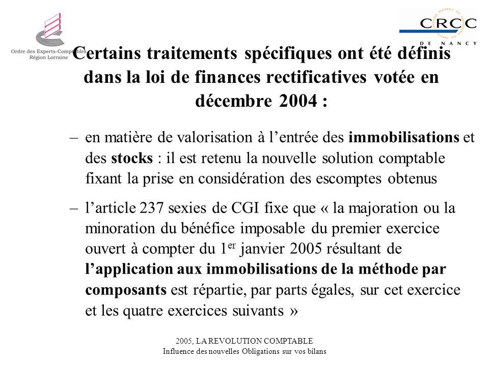 Certains traitements spécifiques ont été définis dans la loi de finances rectificatives votée en décembre 2004 :