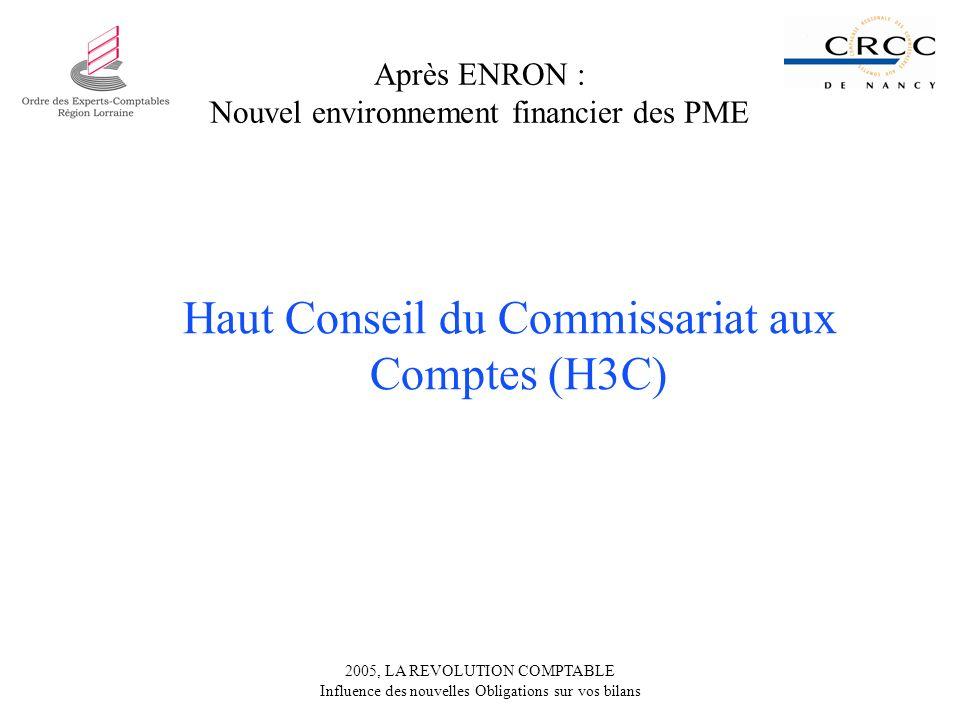 Après ENRON : Nouvel environnement financier des PME