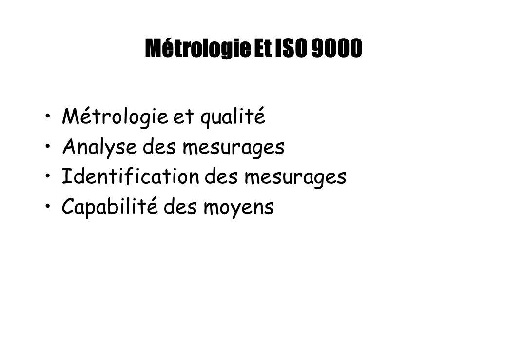 Métrologie Et ISO 9000 Métrologie et qualité Analyse des mesurages