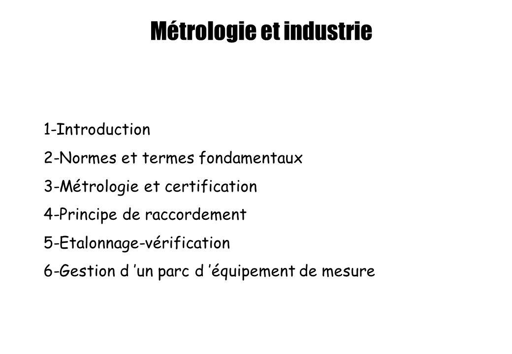 Métrologie et industrie